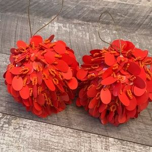 Christmas Balls Coral Matte Sequin Beaded Set Of 2